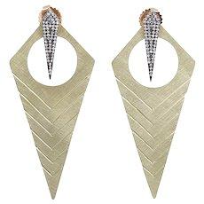 "Julez Bryant Yellow Gold ""Long Kite"" Style Earrings"