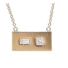 Julez Bryant Rose Gold Rectangular Pendant Necklace