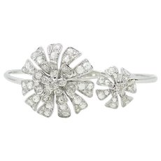 Maria Canale 18K White Gold Flower Bangle