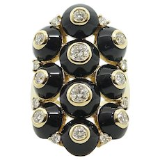 Maria Canale Black Onyx and Diamond Ring