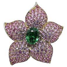 Platinum Tsavorite Garnet Floral Ring