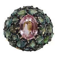 Padparadscha Sapphire and Alexandrite 18K Yellow Gold Ring