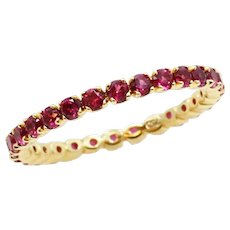 Yellow Gold Ruby Eternity Band