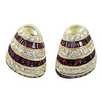 Diamond and Ruby Earrings in 18K Yellow Gold