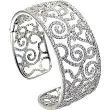 18K White Gold Diamond Cuff Bracelet