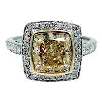 Platinum Engagement Ring with 5.55 carat Fancy Light Yellow Radiant Diamond