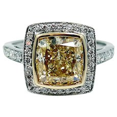 Platinum Engagement Ring with 5.55 carat Fancy Light Yellow Radiant Diamond