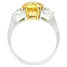 18K White Gold Yellow Sapphire And Diamond Ring