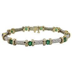 2.50 Carat Emerald And Diamond Two Tone Bracelet