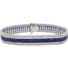 French Cut Sapphire and Round Diamond White Gold Bracelet