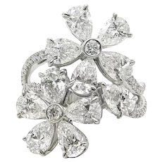 4.64 Carat Diamond Flower Style White Gold Ring
