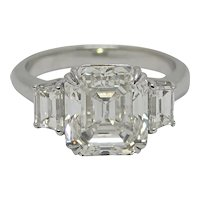 Platinum 5.02 Carat Three Stone Ring