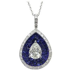 18K White Gold Sapphire And Diamond Stadium Pendant Necklace