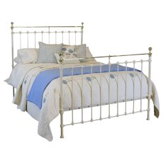 Victorian Cream Brass and Iron Bed