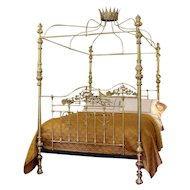 All Brass Crown and Canopy Four-Poster Bed