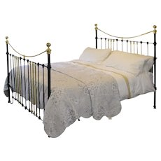 6ft Wide Brass and Iron Bed