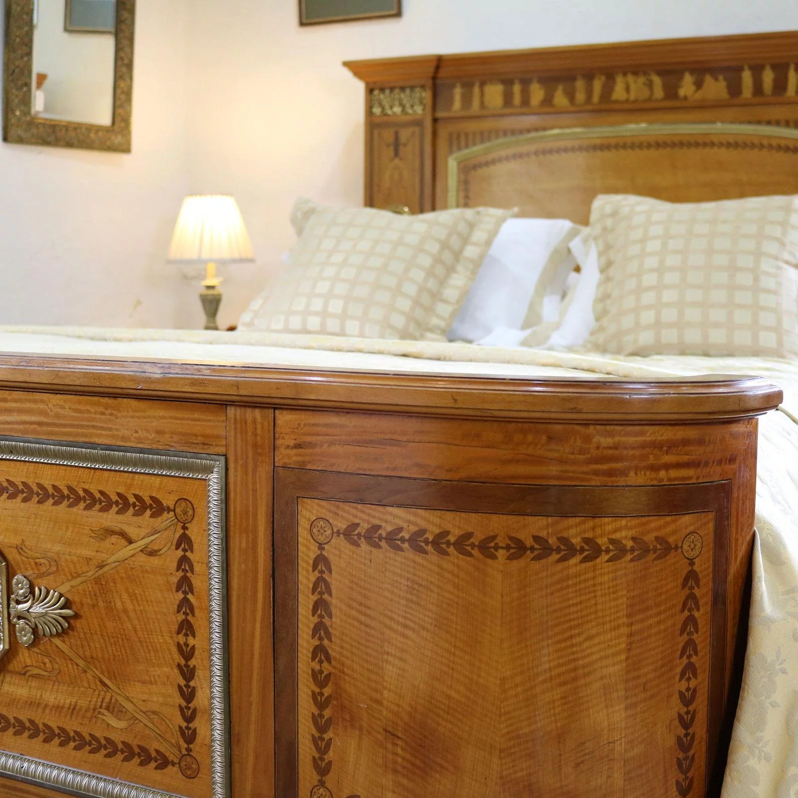 Empire Style Bed With Greco Roman Inlay Work Seventh