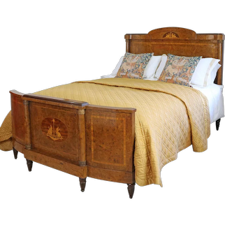 Walnut Empire Style Inlaid Bed