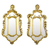 Pair Early 18th Century Northern Italian Giltwood Mirrors