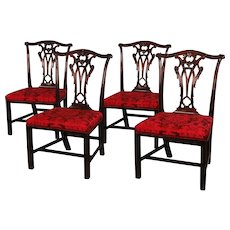 Set of Four Chippendale Period Mahogany Side Chairs