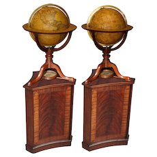 A Pair of George III 12 inch Terrestrial and Celestial Table Globes by Cary's on Modern Stands.