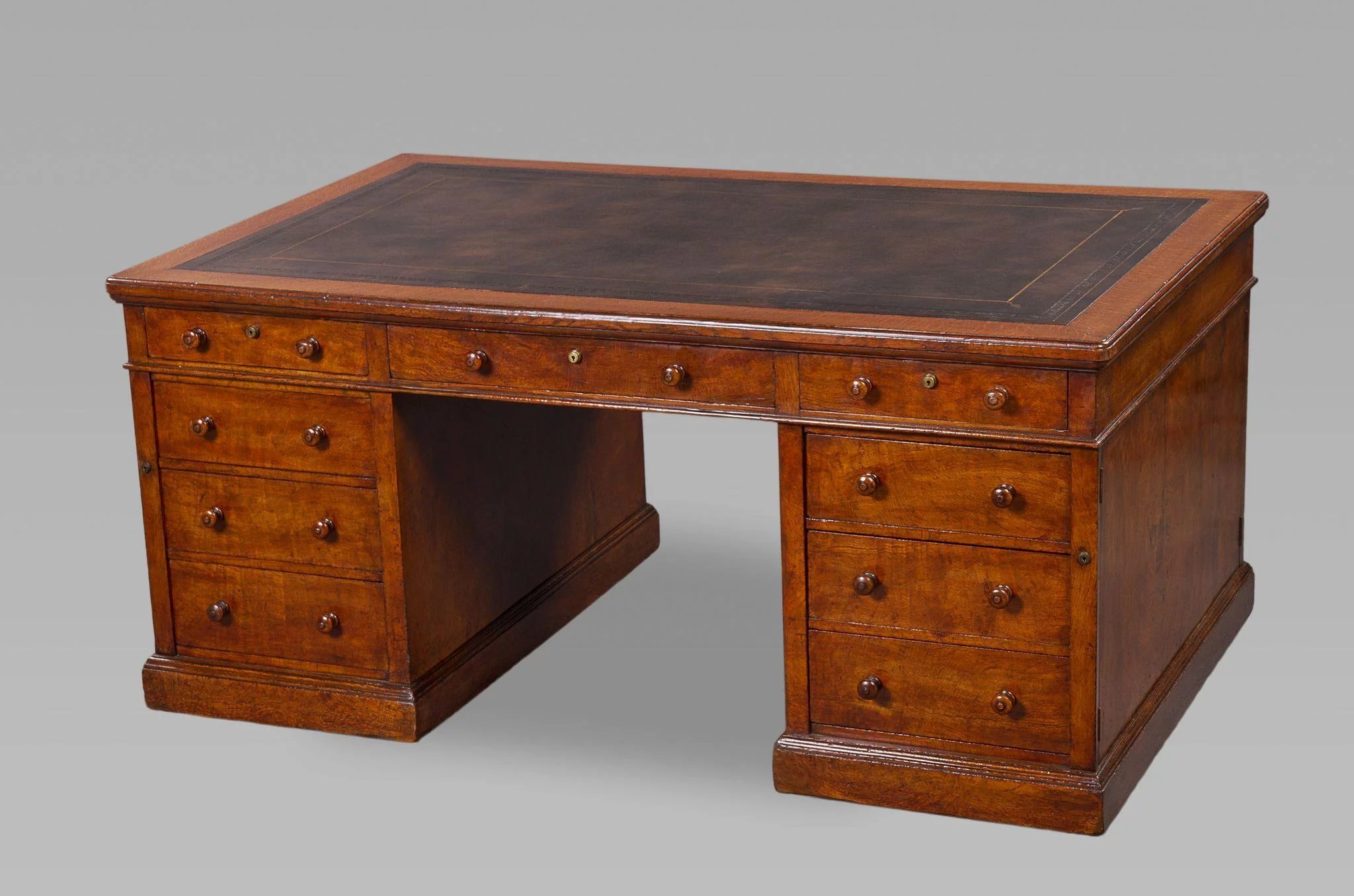 mid 19th century figured oak partners desk by and 87979