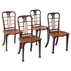 Set of Four George II Mahogany Hall Chairs