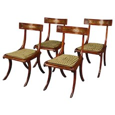 Set of Four Regency Klismos Chairs after a Design by Thomas Hope