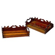 Pair of Specimen Wood Book Trays Attributed to Gillows