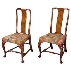 A Pair of George I Chinese Back Walnut Side Chairs