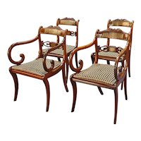 Long Set of Sixteen George III Brass Inlaid Rosewood Dining Chairs