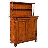 A Superb Quality Regency Burr Elm Chiffonier Cabinet by William Trotter of Small Proportions