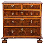 A Charles II Oyster Veneer and Line Inlay Chest of Drawers
