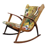 Knoll Antimott rocking chair, new fabric Josef Frank 1945