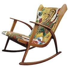 Knoll Antimott rocking chair, new fabric Josef Frank 1945