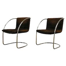 "Giovani Offredi ""Lens"" a pair of Lounge Chairs, Saporiti"