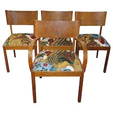 Hans Hartl 'Set of four chairs', original fabric  Josef Frank 'Cave', Svenskt Tenn