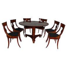 Biedermeier dining table and six chairs, Germany early 1900 century