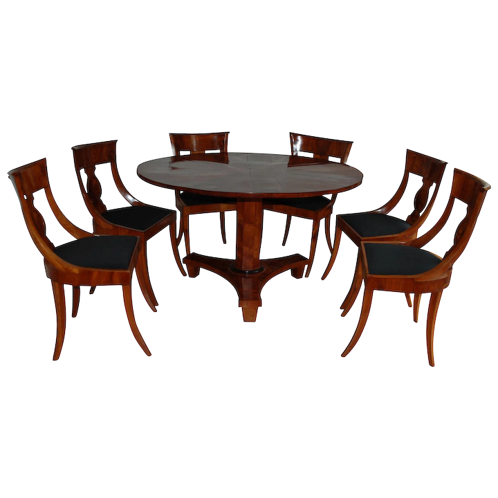 Biedermeier Dining Table And Six Chairs