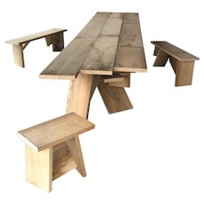 Andres Bally 'Bergstation', table and benches, unique piece