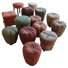 collection of 14 poufs, in style of Jindrich Halabala 1930's