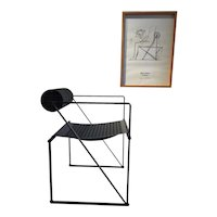 Mario Botta 'Seconda' armchair and signed poster, 1982