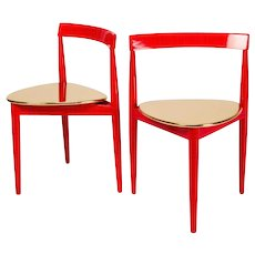 Hans Olsen Chairs in Gold and Red
