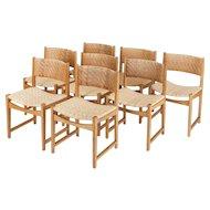 8 Hvidt & Molgaard Nielsen Oak & Cane Dining Chairs