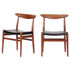 Pair of Hans Wegner Chairs Model W2 1950's