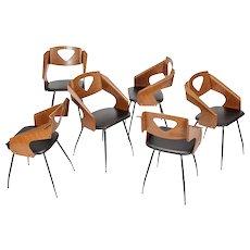 6 Carlo Ratti Chairs for Legni Curva Lissone 1950's