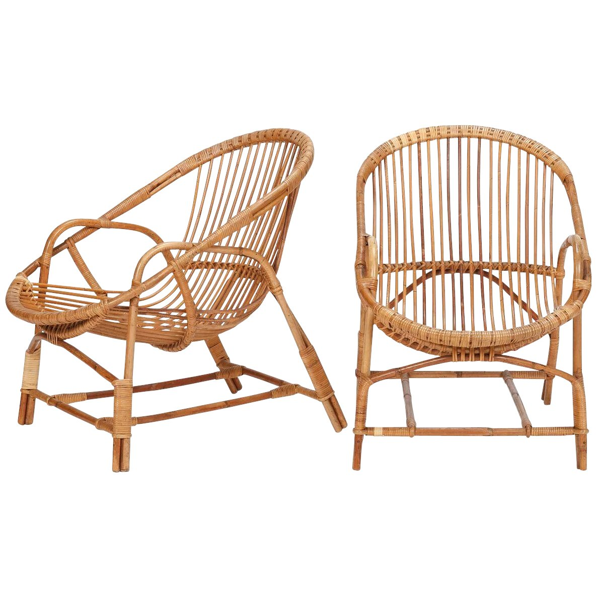 Pair Of French Bamboo Wicker Chairs 1950 S