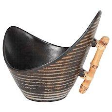 Jette Helleroe Bamboo Handle Pottery Bowl 1950's