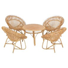 French Bamboo Wicker Patio Set 1950's