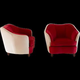 """Pair of GIO PONTI velvet armchairs """"Casa&Giardino"""", 1938"""